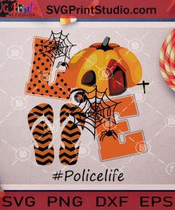 Love Policelife Halloween SVG, Halloween SVG, Pumpkin SVG, Flip Flop SVG, Cricut Digital Download, Instant Download