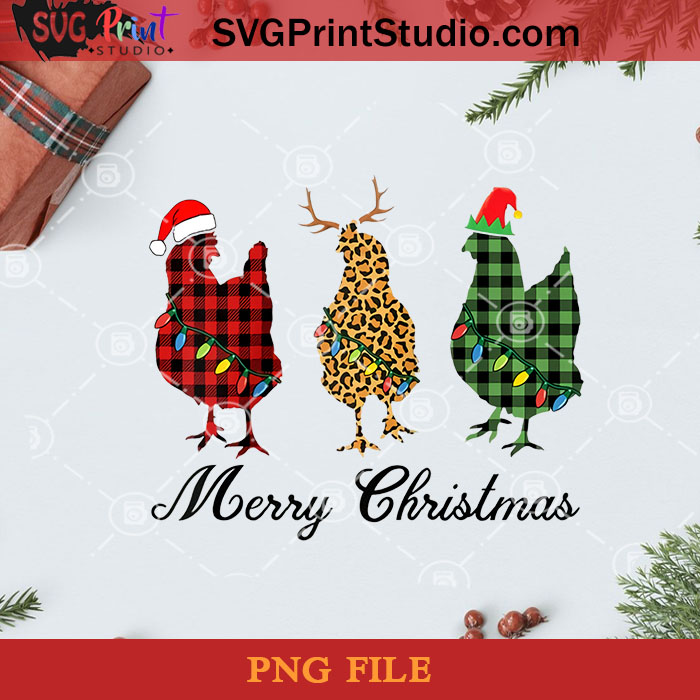 Merry Christmas Three Chicken Buffalo Leopard Plaid PNG, Noel PNG, Merry Christmas PNG, Christmas PNG, Chicken PNG, Santa Hat PNG, Buffalo Plaid PNG, Leopard Plaid PNG Digital Download