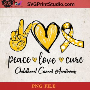 Peace Love Cure Childhood Cancer Awareness PNG, Peace Love PNG, Halloween PNG, Heart PNG, Cancer PNG Digital Download