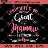 Promoted To Great Mamaw EST 2020 SVG, First Mother's Day SVG