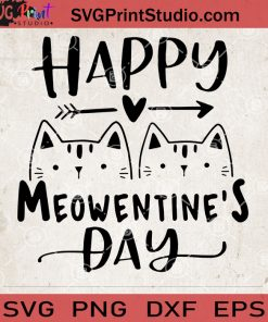 Happy Meowentine's Day SVG, Couple Cat SVG, Cat Lover vector
