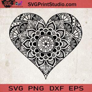 Heart Mandala SVG, Heart Zentangle SVG, Love Mandala SVG, Heart Vector