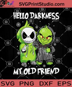 Hello Darkness My Old Friend SVG, Baby Jack And Baby Grinch Cosplay SVG