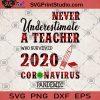 Never Underestimate A Teacher Who Survived 2020 Coronavirus Pandemic SVG, Teachers Gift SVG, Coronavirus 2020 SVG
