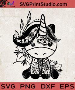 Unicorn Mandala svg, Unicorn Zentangle SVG, Unicorn Flower SVG