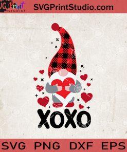 Buffalo Plaid Gnome Valentine SVG, XOXO Valentine's Day SVG, Gnome XOXO SVG