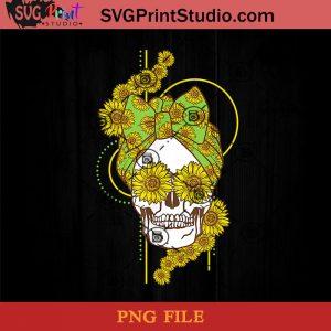 Funny Sunflower Skull Gift For Women Cool Skeleton Bandana PNG, Skull PNG, Sunflower PNG, Momlife PNG Instant Download