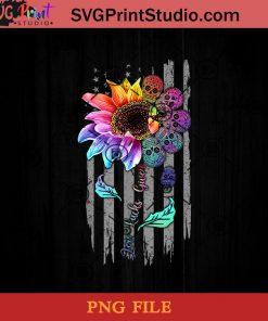 Zero Lucks Given Sunflower Sugar Skull American Flag PNG, Skull PNG, Sunflower PNG, Momlife PNG Instant Download