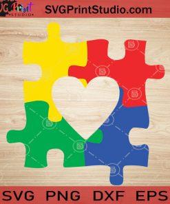 Autism Heart Puzzle Autism Awareness SVG, Autism SVG, Puzzle SVG EPS DXF PNG Cricut File Instant Download