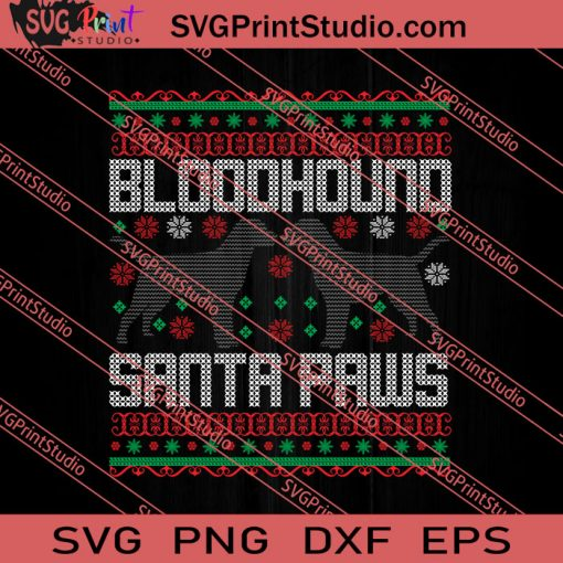 Bloodhound Santa Paws SVG PNG EPS DXF Silhouette Cut Files